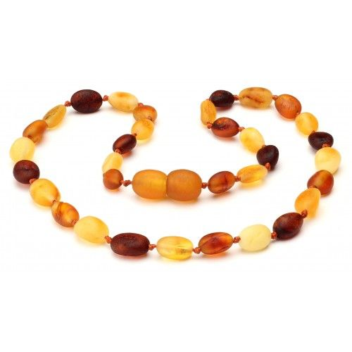 Multi Raw Bean Shaped Amber Necklace, 12.5 inch