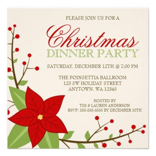 Modern Poinsettia Christmas Holiday Dinner Party