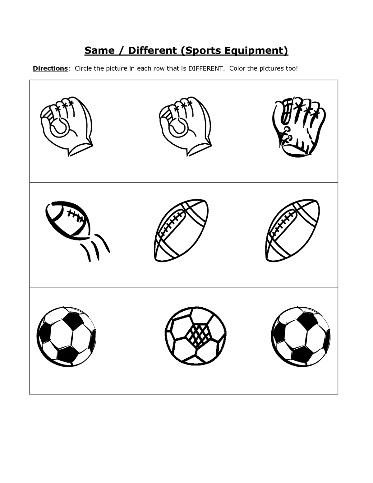 Same And Different Sport Worksheets For Kids