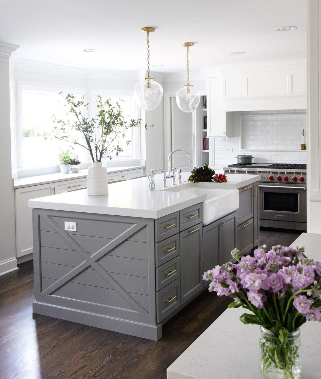 Kitchen Island Paint Color Is Chelsea Gray Benjamin Moore Via Park - Grey and white cupboards