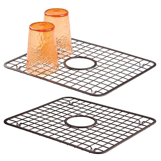 Mdesign Modern Kitchen Sink Metal Dish Drying Rack Mat With Center