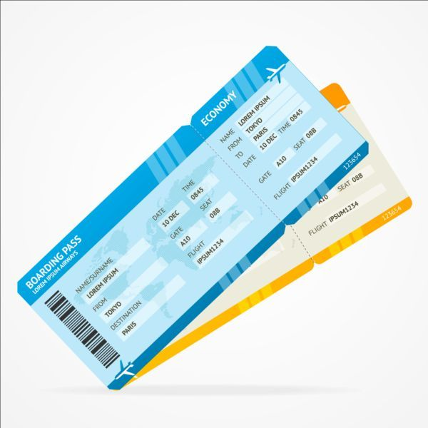 Airline tickets template design vector 01 -    gooloc - design tickets template