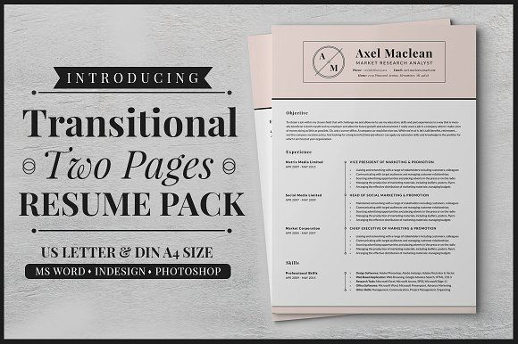 Transitional Two Pages Resume Pack by SNIPESCIENTIST on - pages resume template