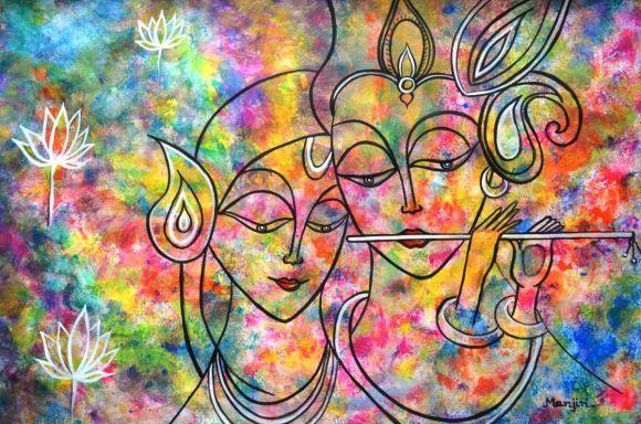 Radha Krishna Holi Abstract Colorful Painting Radha Krishna Holi