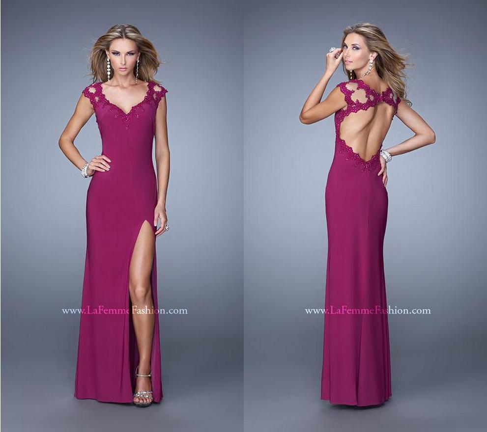 La Femme 20555 ~ high leg slit ~ long prom dress ~ open back dress ...
