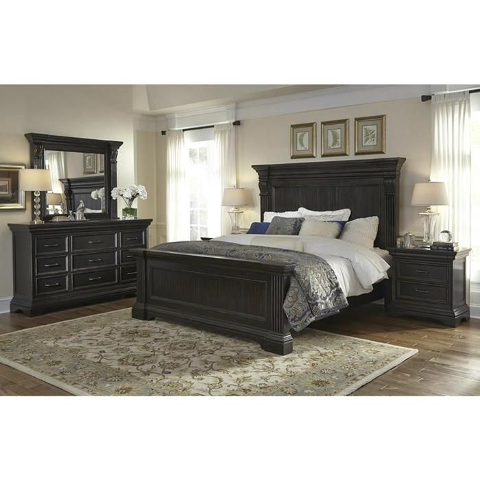 Caldwell 4 piece king bedroom set in dark expresso - Bathroom vanities nebraska furniture mart ...