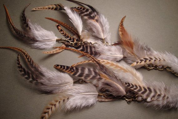 Baby GrizzlyChunky ChainLong Feather by GirlCandyDesigns on Etsy, $24.95