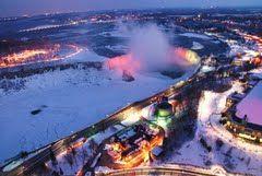Niagara Falls, frozen at night.  Ontario, Canada. (Panoramio - Photo explorer)  February, 2011.