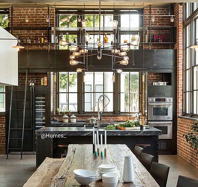 Industrial Kitchen Windows: Brick Steam Punk Kitchen