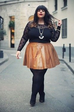 0eb91a1ecb67 Plus size is beautiful - The Shoppeuse. tan leather skirt. A Thick Girls  Closet ...