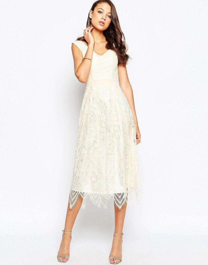 Little Mistress Tall Midi Prom Dress With Scallop Hem