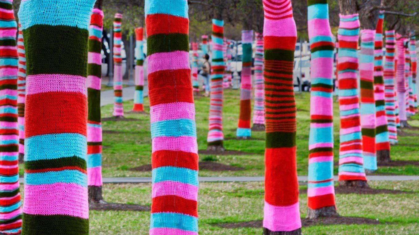 Trees in sweaters, Blanton Museum Of Art, University Of Texas, Austin, Texa
