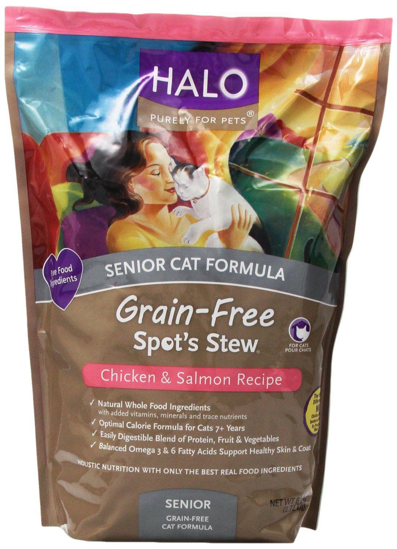 Halo Spot's Stew Grain Free Chicken and Salmon Senior Cat