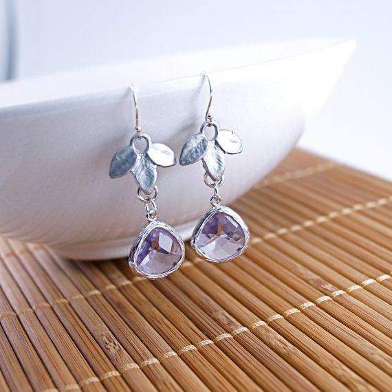 Lila Blatt Ohrringe Sterling silber Silber von ModernBeadingbyJen, $20.00