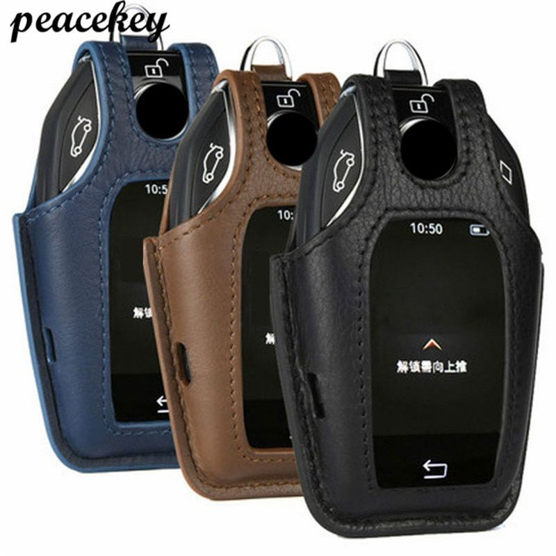 Leather Car Key Case Cover For Bmw Car 2017 2018 7 Series Display