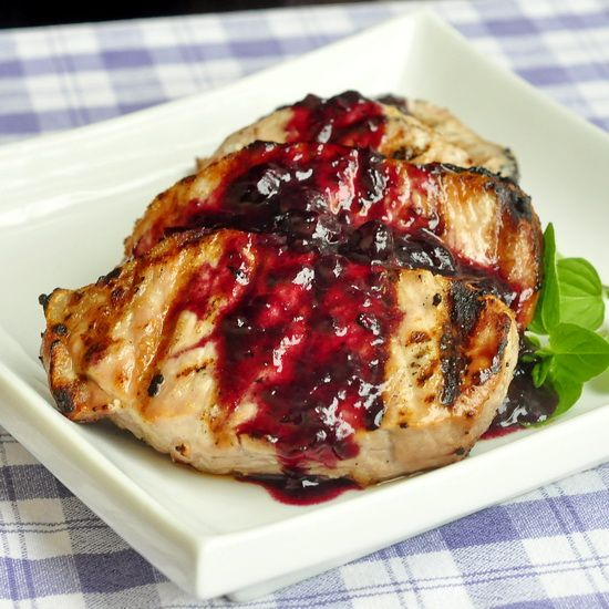 Blueberry Balsamic Pork Chops - with the grilling season now underway, I have updated the photo for one of our most popular recipes ever and included a simple adaptation to the recipe to use grilled pork chops. These tender, juicy pork center loin chops make a terrific quick, easy and very tasty dinner any day of the week.