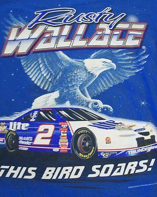 "Rusty Wallace ""This Bird Soars"" T-shirt Thunderbird NASCAR"