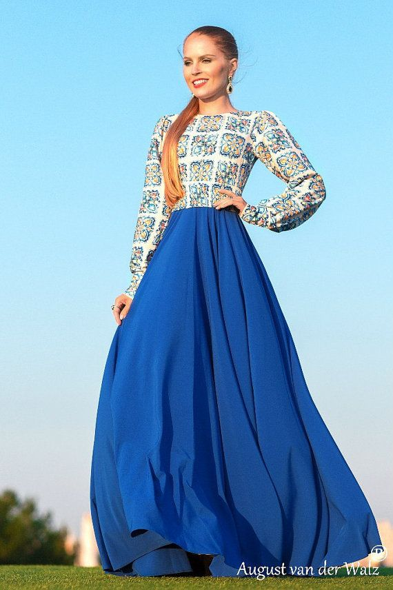Designer Womens Dresses Blue Maxi Dress With Long Sleeve From My Collection Empress Exclusive Russian Style Full Lenght Summer