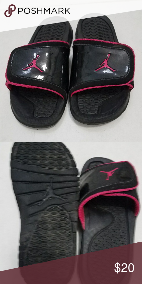 a988b3925941 Air Jordan Slides Pink and Black Air Jordan Slides Pink and Black.  Adjustable midfoot strap allows for a custom fit. Size   x-small 6 Like new Jordan  Shoes ...