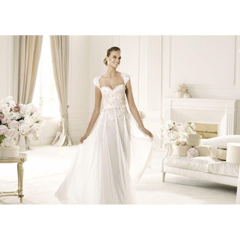 lace chiffon wedding dress - Google Search | WEDDING DRESSES / ABITI ...