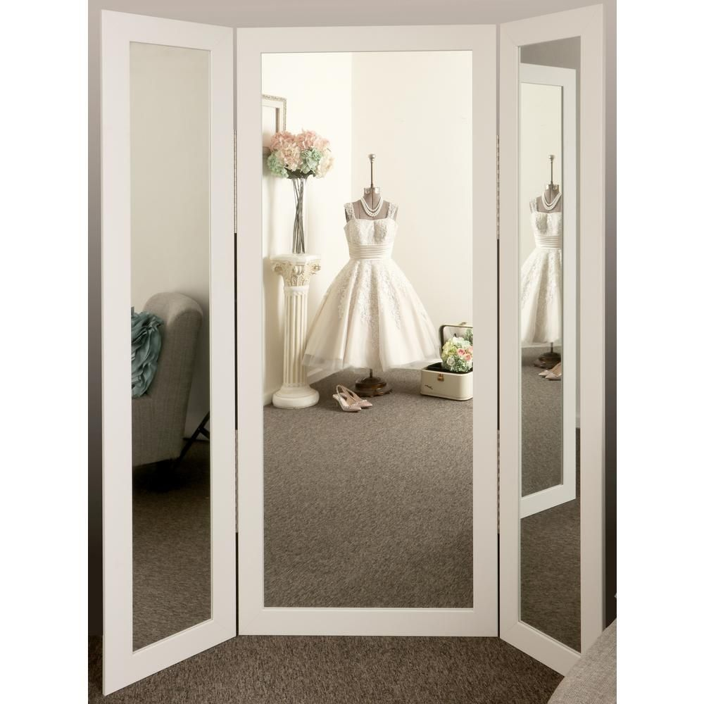 Brandtworks Oversized Matte White Composite Hooks Modern Mirror 64 In H X 71 In W Bm3trifold The Home Depot Trifold Mirror Contemporary Full Length Mirrors Full Body Mirror