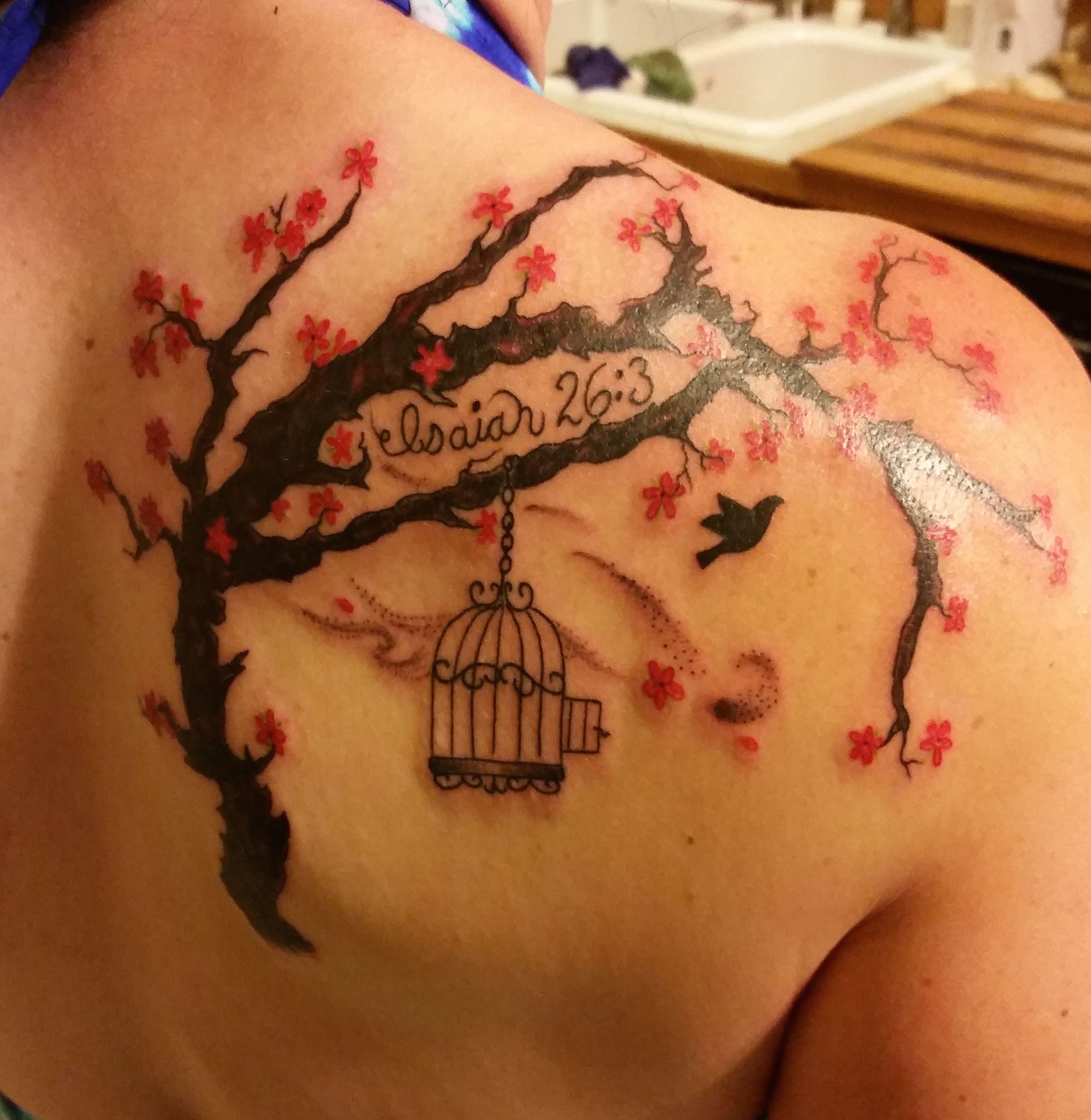 My New Tattoo Cherry Blossom Tree Isaiah 26 3 And A Bird Flying Free This Is My Mom Tattoos Freedom Tattoos Birds Tattoo
