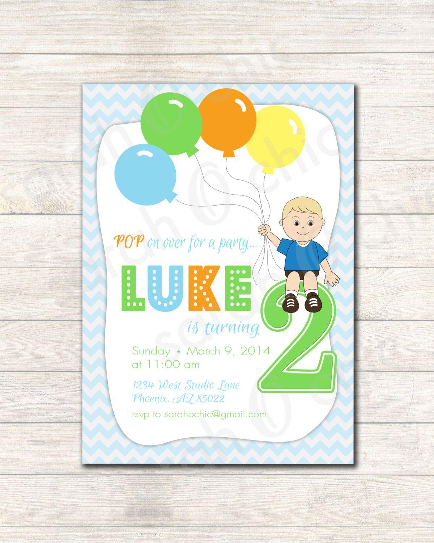 Balloon theme invitation! | Birthday party ideas | Pinterest ...