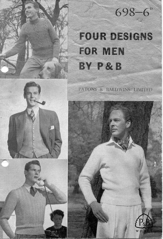 "1904 VINTAGE KNITTING PATTERN BOYS  22-30/"" DK SWEATER"