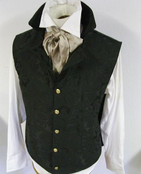 Last One BLACK ROCOCO Regency Historic Vest Waistcoat