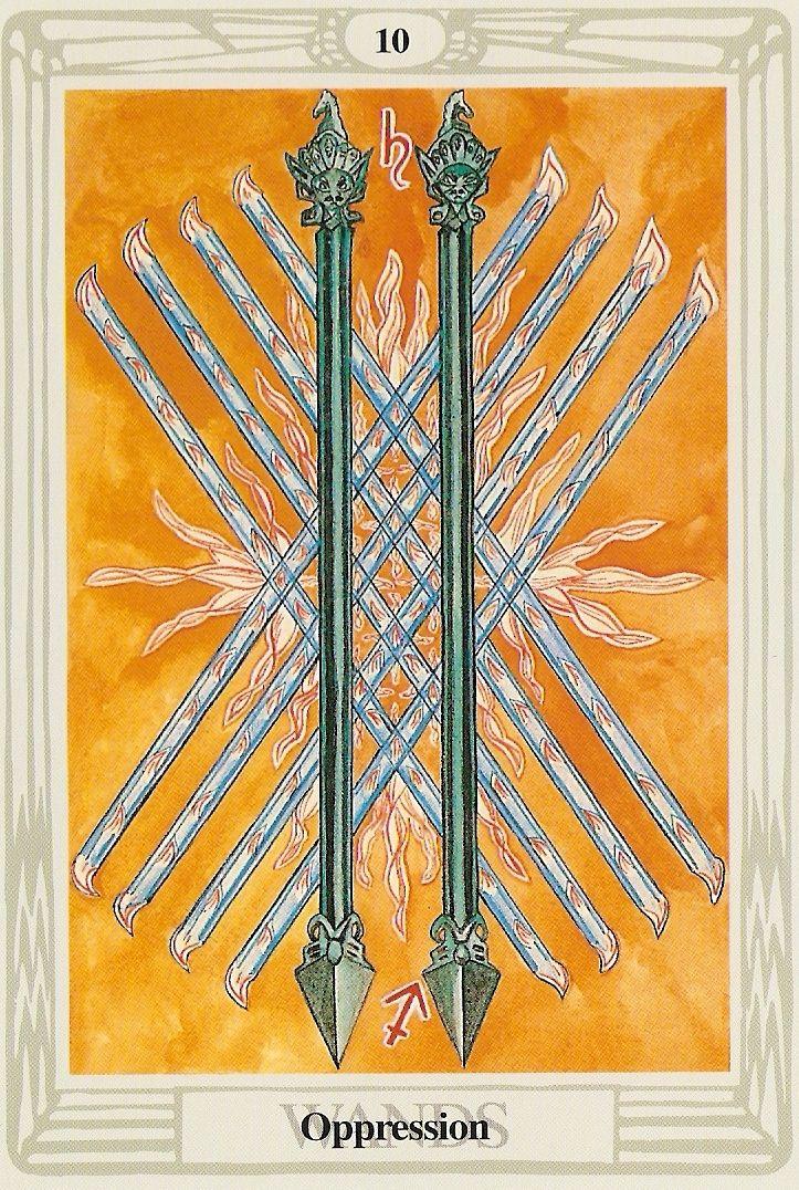Oppression 10 of wands thoth tarot wands tarot tarot