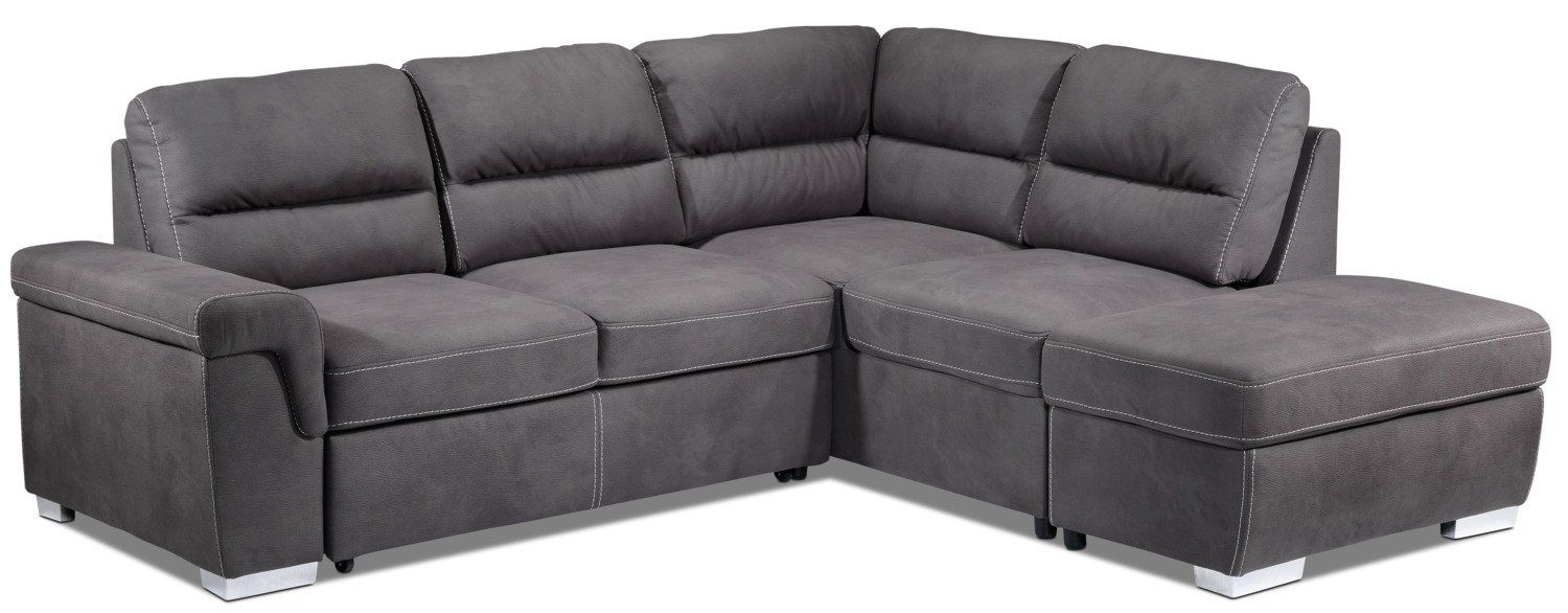 Couvertures De Fauteuils Simone 3 Piece Sectional With Left Facing Pop Up Bed Charcoal In