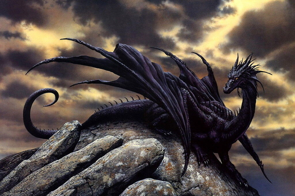 Black Dragon Decor Canvas Print A4 Size 210 x 297mm