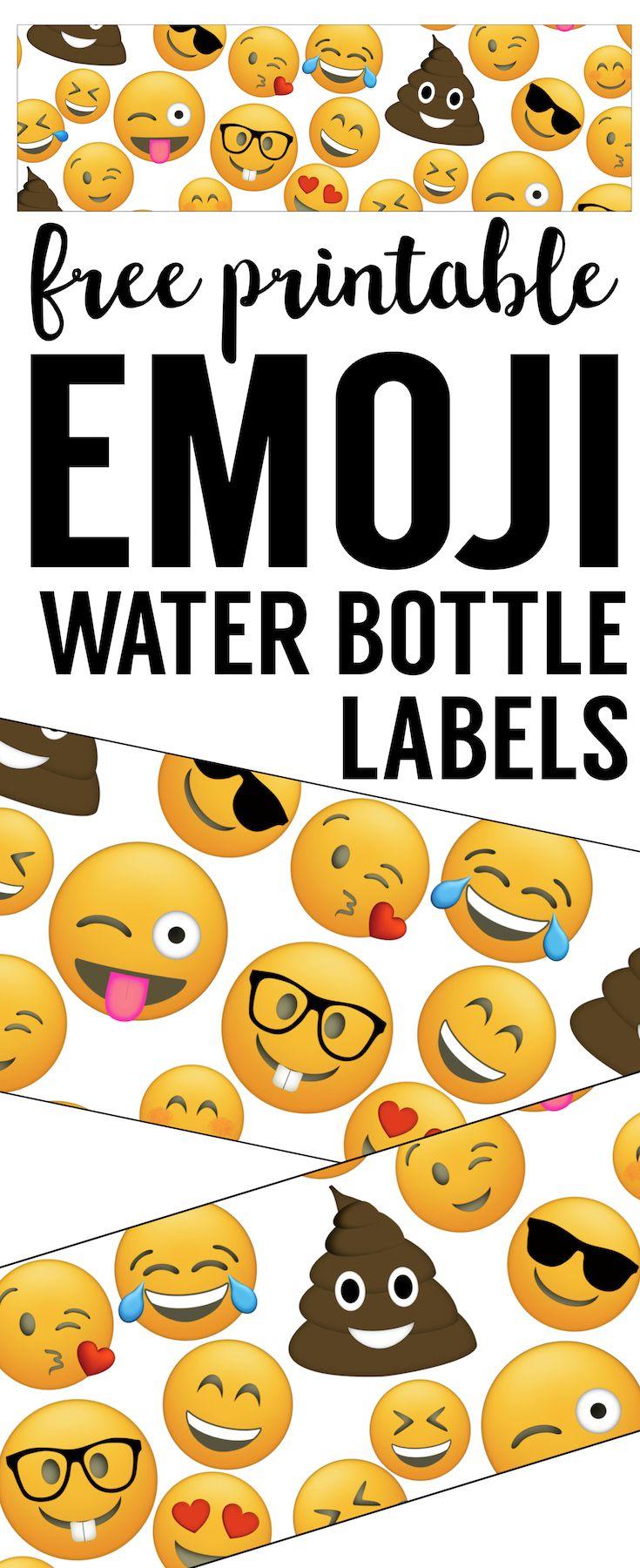 Emoji Water Bottle Labels Free Printable Paper Trail Design Labels Printables Free Water Bottle Labels Free Emoji Party Decorations