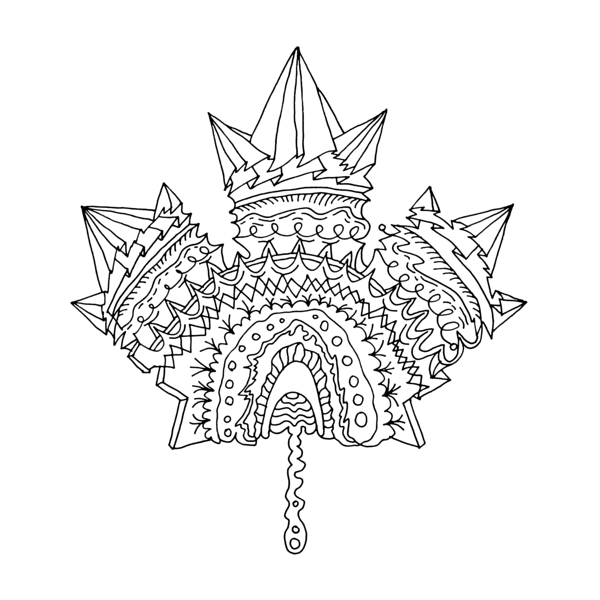 Canadian Maple Leaf Colouring Page with Abstract Drawing