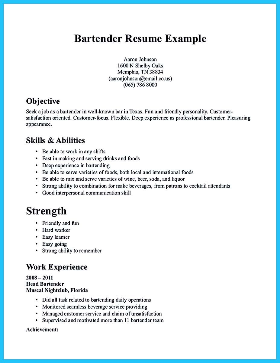 Excellent Ways To Make Great Bartender Resume Template Tips
