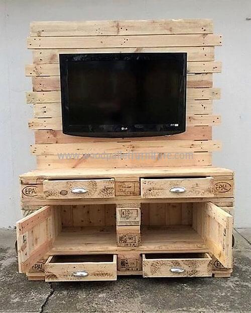 Pallet Tv Stand Part - 32: Wooden Pallets Made TV Console | Pallet Tv Stands, Pallet Tv And Tv Stands
