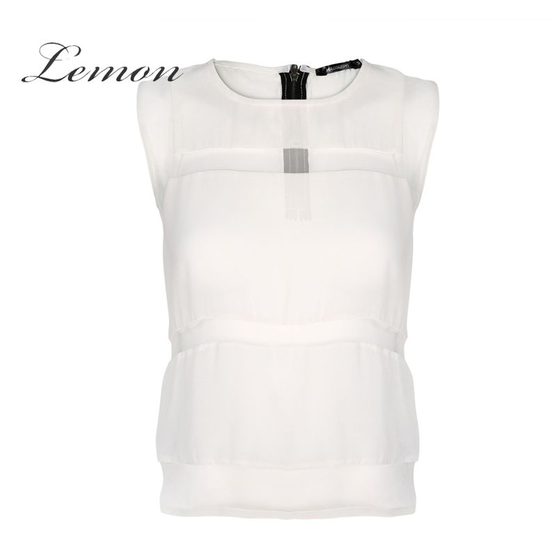 a780d38278a Lemon Summer Fashion Patchwork Tops Women Sleeveless Cold Shoulder Female Chiffon  Tops Elegant Solid Zippers Blouses
