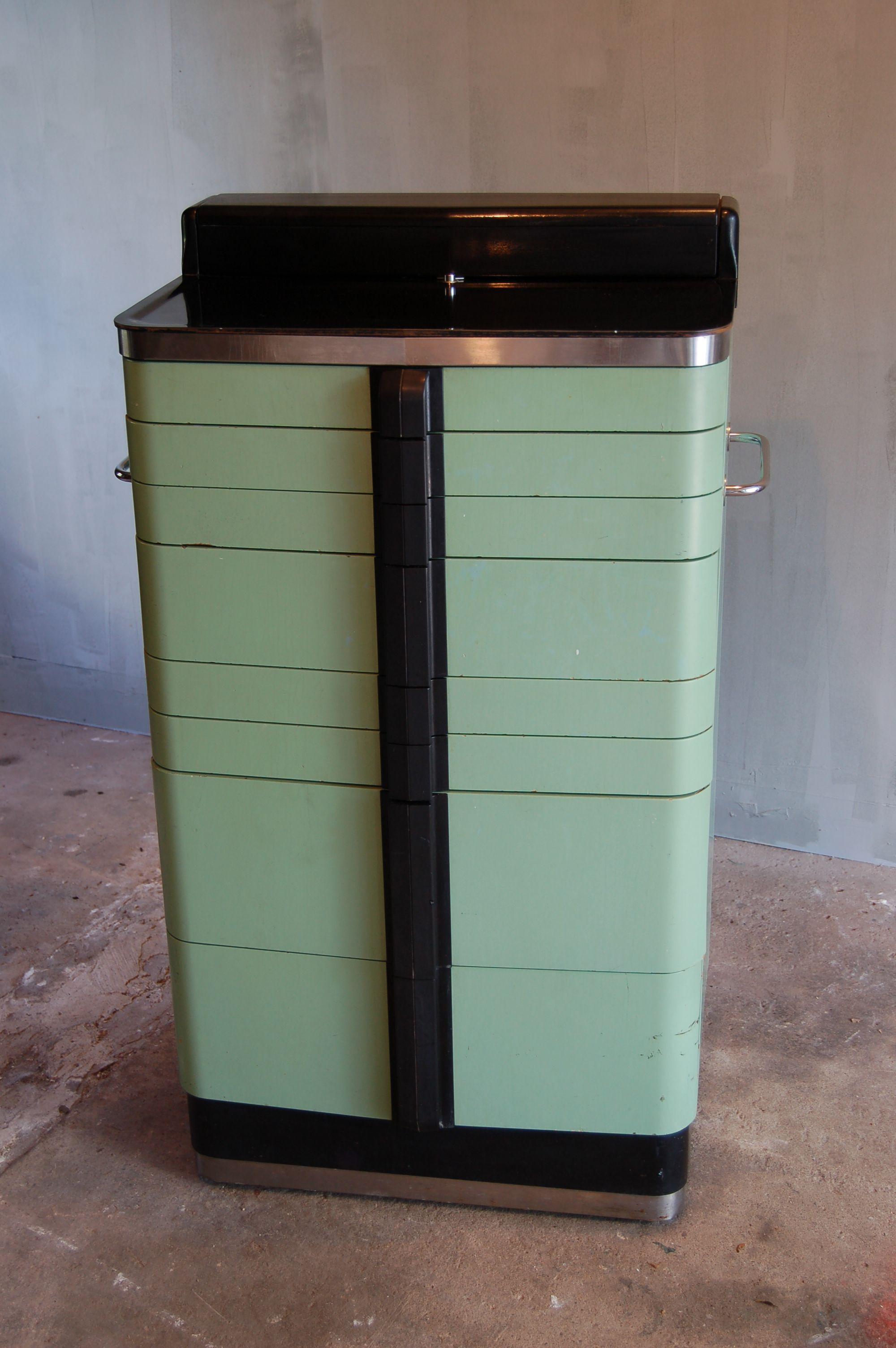 Vintage Hamilton Dental Or Medical Cabinet. Great Sea Foam Green, Art Deco  Style