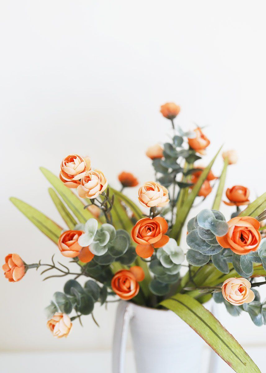 Orange Fake Mini Ranunculus And Euc Bush In 2020 Orange Ranunculus Silk Flowers Wedding Fall Flowers