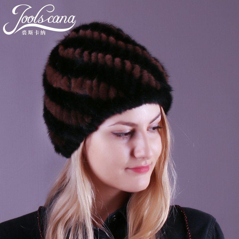 JOOLSCANA mink fur hats for women winter hat knitted real mink cap lined warm  women beanie 49bb5343c803