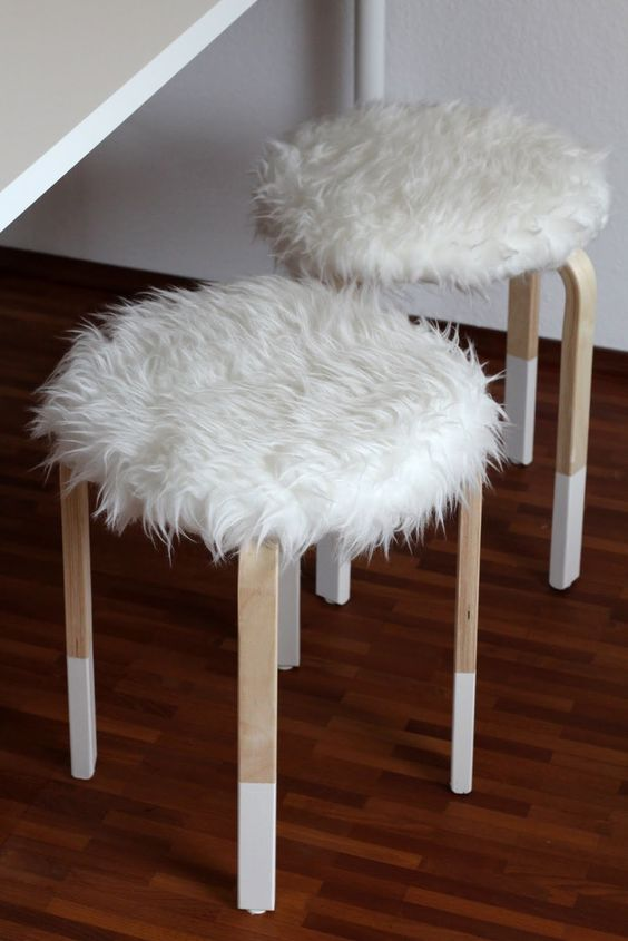 faux fur covers for IKEA Frosta stools for cold seasons | flip ...