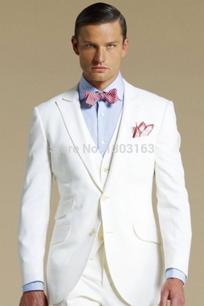 Click to Buy << Custom Made Groom Tuxedos White Formal Wear Wedding ...