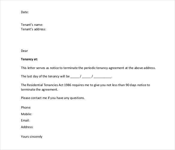 Free Termination Letter Template Sample Example Format Employee