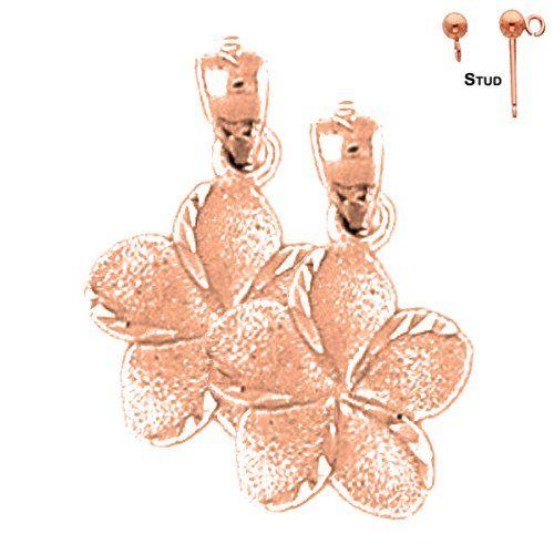 EarringObsession's 14K Rose Gold 20mm Plumeria Flower Post Earrings Earring Obsession