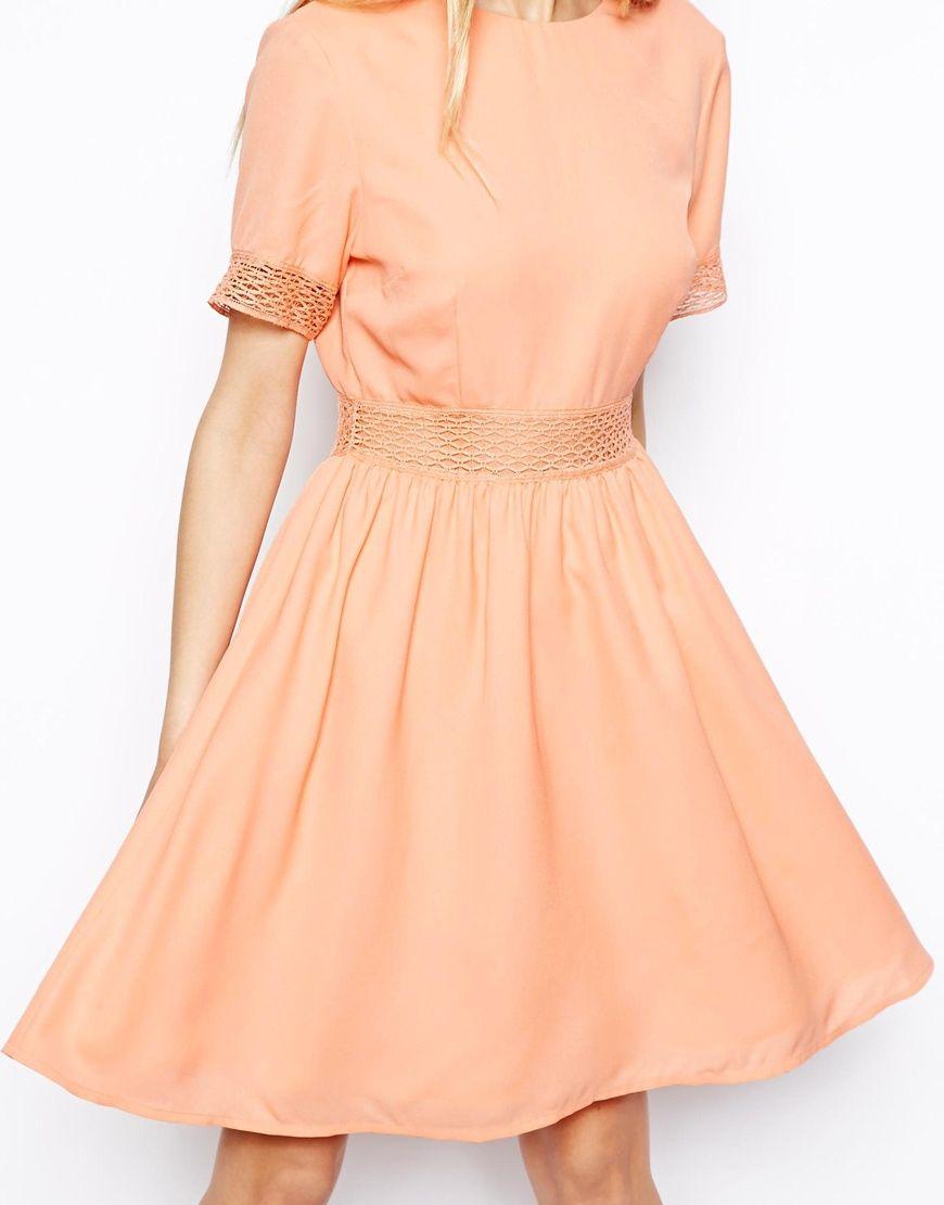 asos petite open back lace waist skater dress at asos