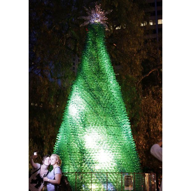 The best worst weirdest and tallest christmas trees in for Christmas decorations from recycled plastic bottles
