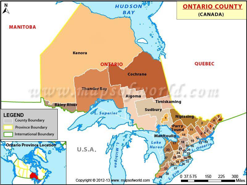 Map Ontario Canada Counties Ontario Counties Map, Counties in Ontario | Ontario county, County