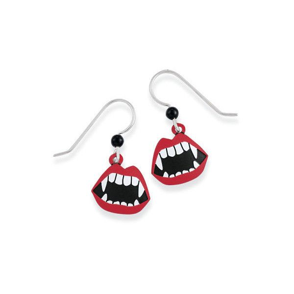 Natures Jewelry Handcrafted Vampire Bite Earrings, Sterling Silver... ($25) ❤ liked on Polyvore featuring jewelry, earrings, natures jewelry, hand crafted earrings, sterling silver jewellery, handcrafted sterling silver earrings and handcrafted jewelry
