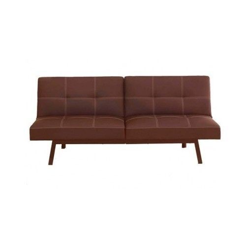 Brown Leather Futon Sofa Bed Faux Furniture Guest Room Lounge Couch