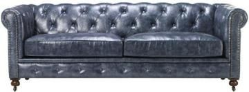Home Decorators Collection Gordon Blue Leather Sofa 0849400310 Blue Leather Sofa Blue Leather Couch Tufted Couch